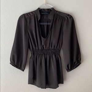 Zara Chocolate Brown Empire Waist Top Size Small